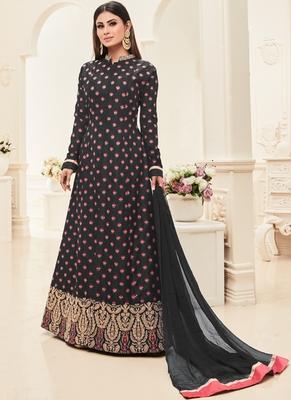Black Multi Resham Work Silk Anarkali Suit