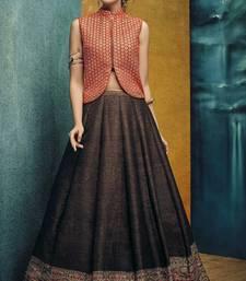 Buy Dark brown printed silk unstitched lehenga with dupatta ethnic-lehenga online