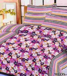 Buy Aria 100% cotton double mauve floral printed bedsheet 00491 bed-sheet online