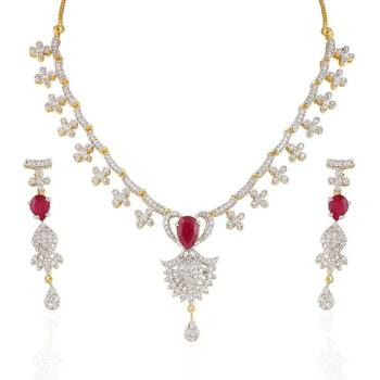 Heena Festive collection Red stone Necklace set >> HJNL31 <<