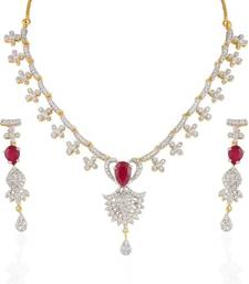 Buy Heena Festive collection Red stone Necklace set >> HJNL31 << party-jewellery online