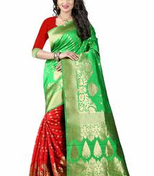 Buy Green woven art silk saree with blouse hand-woven-saree online
