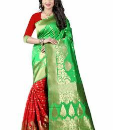 Buy Green woven art silk saree with blouse lehenga-saree online