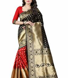 Buy Black woven art silk saree with blouse hand-woven-saree online