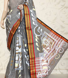 Buy Bengal Handloom Cotton Handprinted Saree (Without Blouose) cotton-saree online