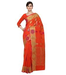 Buy Orange woven blended cotton saree with blouse cotton-saree online