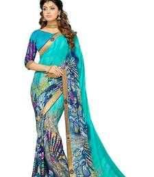 Buy multicolor printed faux_georgette saree with blouse printed-saree online