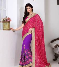 Buy Saraswati  lovely lovender party wear saree art-silk-saree online