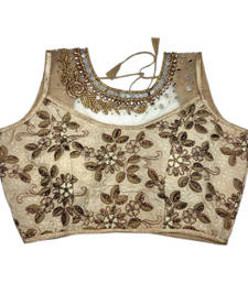Buy Golden Banglore Silk Embroidered stitched blouse readymade-blouse online
