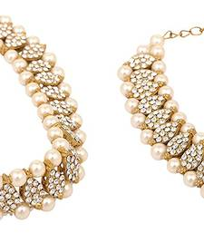 Gold Tone  Cz Pearl Anklets Payal Pair Xl