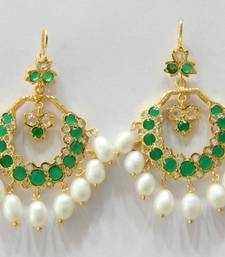 ETHENIC POLKI EMRALD N REAL WHITE PEARLS HANGINGS IN CHAND BALI STYLE shop online