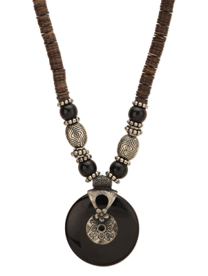 Black Chackra Pendant Necklace