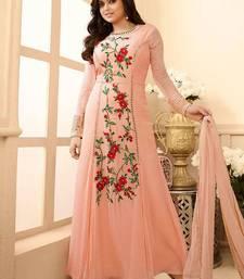 Buy Pink embroidered georgette salwar with dupatta party-wear-salwar-kameez online