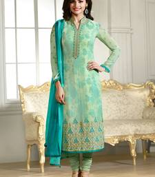 Buy Green embroidered georgette salwar with dupatta black-friday-deal-sale online