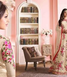 Buy Beige embroidered silk salwar with dupatta festive-salwar-suit online