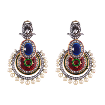 Blue Red Sapphire Pearl Designer Fashionable Chand Bali