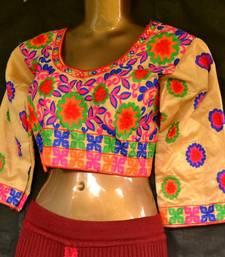 Beige Designer Hand Embroidered Raw Silk readymade-blouse