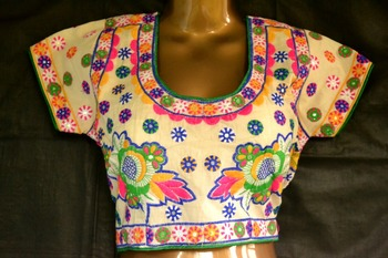White Designer Hand Embroidered Raw Silk readymade-blouse