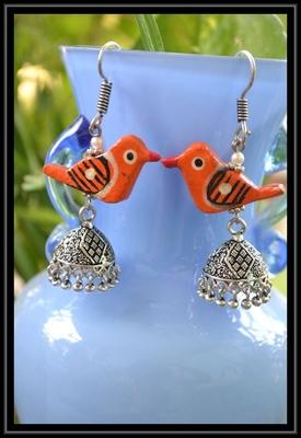 Oxidized Designer Silver Jhumka