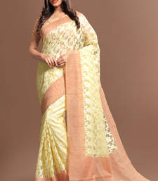 Buy cream woven super_net saree with blouse supernet-saree online