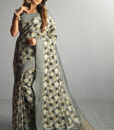 Buy grey woven cotton saree with blouse cotton-saree online