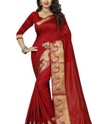 Buy Red woven art silk saree with blouse karwa-chauth-saree online