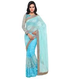 Buy Blue printed net saree with blouse wedding-saree online