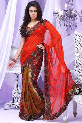 Red Embroidered Georgette Sari