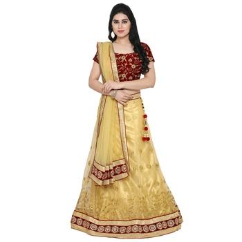 Styles Closet Cream Net Aari Embroidered Lehenga Choli