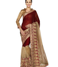 maroon and gold marble chiffon and fancy net saree with blouse