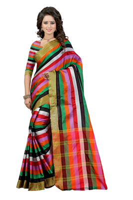 Multicolor woven polycotton saree with blouse