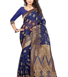 Buy Blue woven brasso saree with blouse brasso-saree online