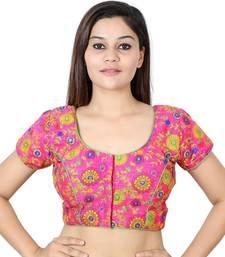 Magenta art silk Kutch work stitched blouse