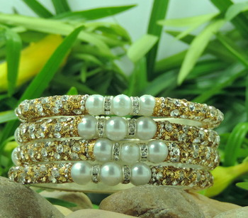 Sparkly Golden Color Bangles with White Pearl