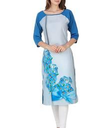 Buy Blue floral print crepe stitched kurti multicolor-kurti online