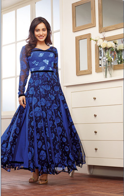 cdbc6972e4 Blue printed georgette semi stitched anarkali salwar suit by fabfiza -  FABFIZA - 271580
