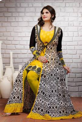 471ad909be Zareen khan Yellow printed georgette semi stitched anarkali salwar suit by  fabfiza - FABFIZA - 272075