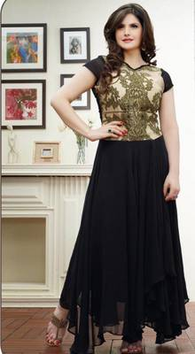 140cc5a467 Zareen khan Black printed georgette semi stitched anarkali salwar suit by  fabfiza