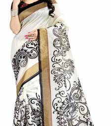 Buy Multicolor printed bhagalpuri silk saree with blouse indian-dress online