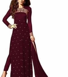 Buy Maroon embroidered georgette salwar with dupatta pakistani-salwar-kameez online