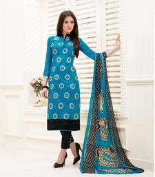 Buy Light Blue Chanderi Embroidered Straight Suit Dress Material women-ethnic-wear online