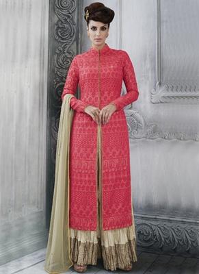 Red Multi Resham Work Tussar Silk Pakistani Salwar With Dupatta