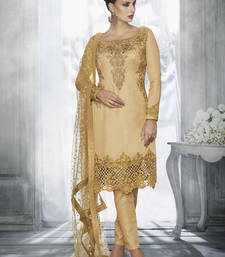 Cream multi resham work tussar silk salwar with dupatta
