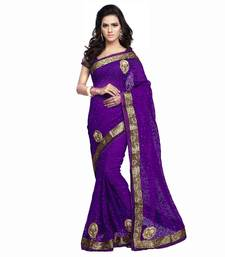 Buy purple embroidered brasso saree with blouse brasso-saree online