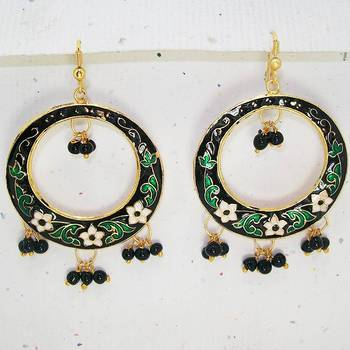 Meenakari Baali Danglers (Black White Green)