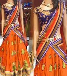 Buy Orange embroidered silk unstitched lehenga with dupatta lehenga-choli online