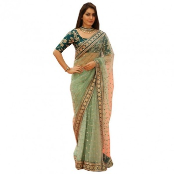 Light green embroidered nylon saree with blouse