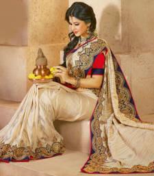 Buy Styloce Beige Silk Bhagalpuri Designer Embroidery Saree bhagalpuri-silk-saree online