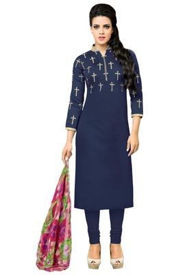Navy Blue embroidered Chanderi Cotton unstitched salwar with dupatta