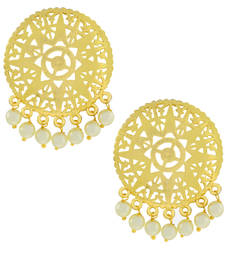 Buy Large Statement Filigree Pearl 18K Gold Plated Stud Earring For Women stud online